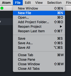 New file in menu in atom editor